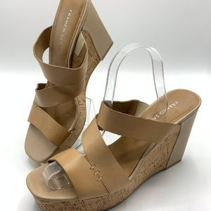Franco Sarto Wedge Platform Sandals Size 10 M Tan